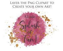 Load image into Gallery viewer, WATERCOLOUR SPLASH & SPLATTER - Gold & Pink - Clipart