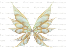 Load image into Gallery viewer, 20 FAIRY WING Overlays - Gold GILDED & COLOURED - TRANSPARENT Set 6
