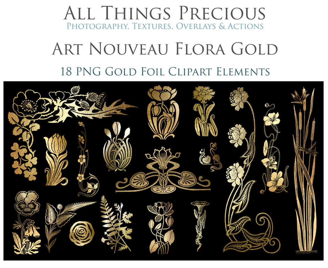ART NOUVEAU GOLD FLOWERS - Clipart