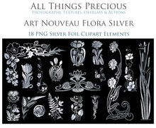 Load image into Gallery viewer, ART NOUVEAU SILVER FLOWERS - Clipart