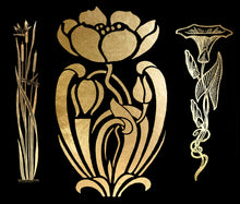 Load image into Gallery viewer, ART NOUVEAU GOLD FLOWERS - Clipart