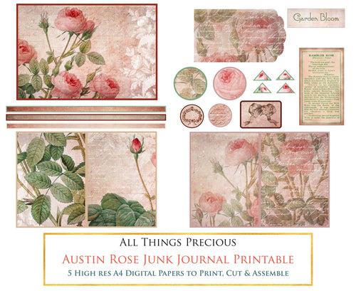 AUSTIN ROSE Printable JUNK JOURNAL - Digital Scrapbooking