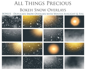 BOKEH SNOW with WINTER SUNLIGHT Digital Overlays