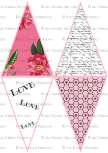 FRENCH BUNTING, Printable Png Banner - PINK - Clipart