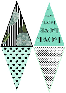 FRENCH BUNTING, Printable Png Banner - GREEN - Clipart
