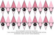 Load image into Gallery viewer, FRENCH BUNTING, Printable Png Banner - PINK - Clipart
