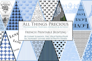 FRENCH BUNTING, Printable Png Banner - BLUE - Clipart