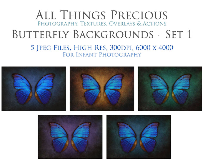 DIGITAL BACKDROP - Butterflies Set 1