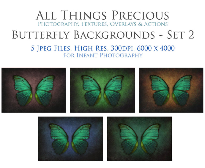 DIGITAL BACKDROP - Butterflies Set 2