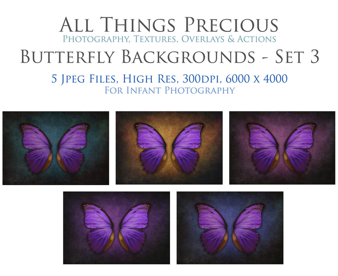 DIGITAL BACKDROP - Butterflies Set 3