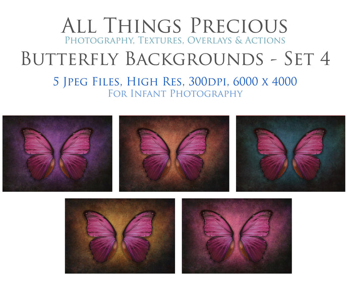 DIGITAL BACKDROP - Butterflies Set 4