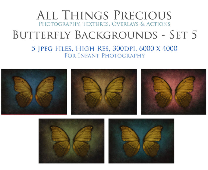 DIGITAL BACKDROP - Butterflies Set 5