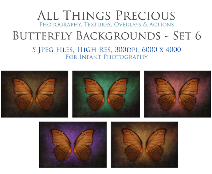 DIGITAL BACKDROP - Butterflies Set 6