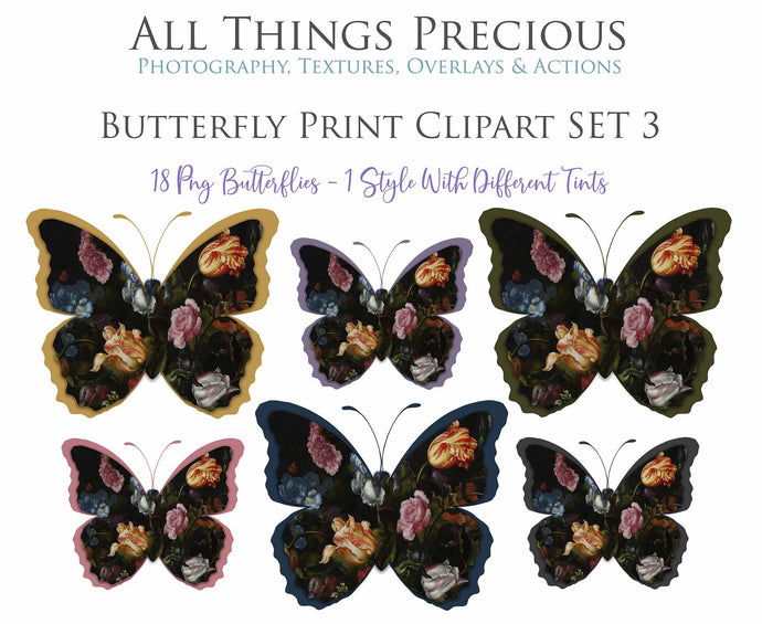 BUTTERFLY PRINT CLIPART Set 3 - Clipart