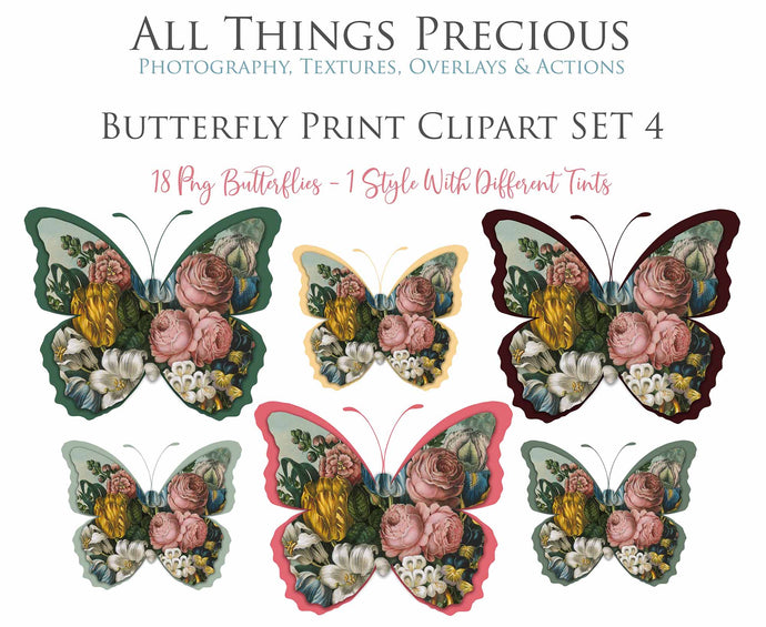 BUTTERFLY PRINT CLIPART Set 4 - Clipart