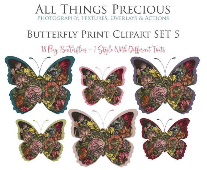 BUTTERFLY PRINT CLIPART Set 5 - Clipart