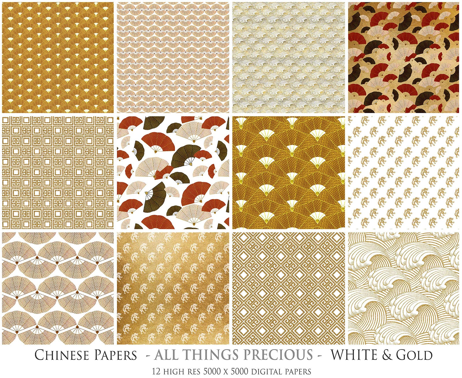 CHINESE PATTERN - GOLD & WHITE Digital Papers Set 3