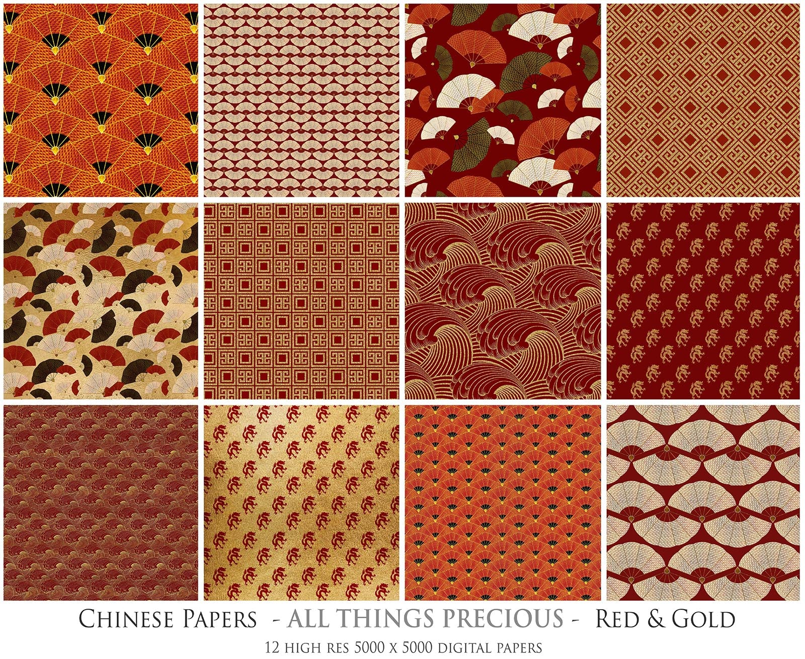 CHINESE PATTERN - GOLD & RED Digital Papers Set 2