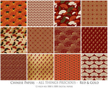 Load image into Gallery viewer, CHINESE PATTERN - GOLD & RED Digital Papers Set 2