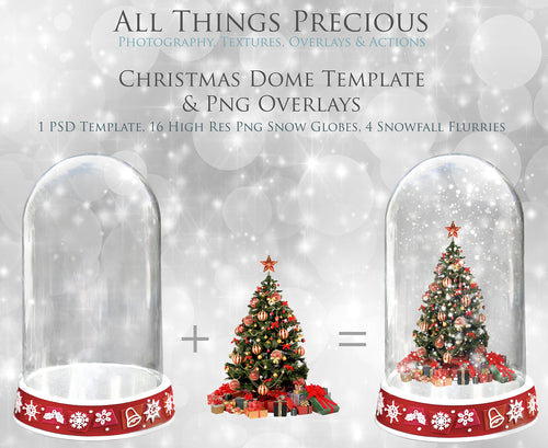 CHRISTMAS GLASS DOME Png Digital Overlays and PSD Template