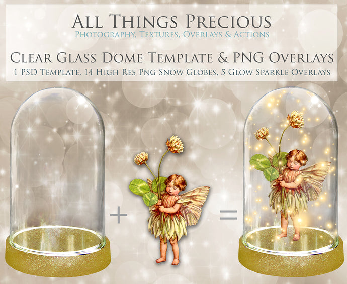 CLEAR GLASS DOME With GLOWS Png Digital Overlays and PSD Template