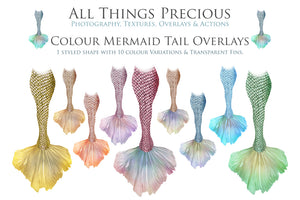 COLOURFUL MERMAID TAILS - Digital Overlays