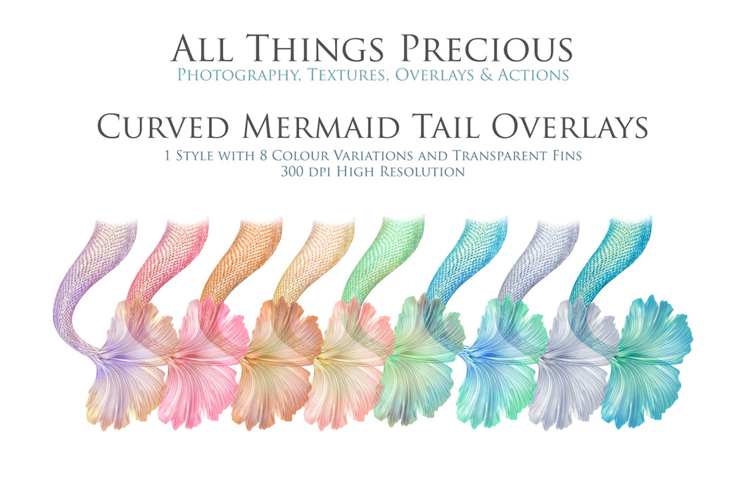 CURVE MERMAID TAILS - Digital Overlays