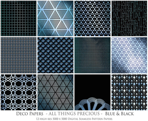 ART DECO - BLACK & BLUE Digital Papers Set 2