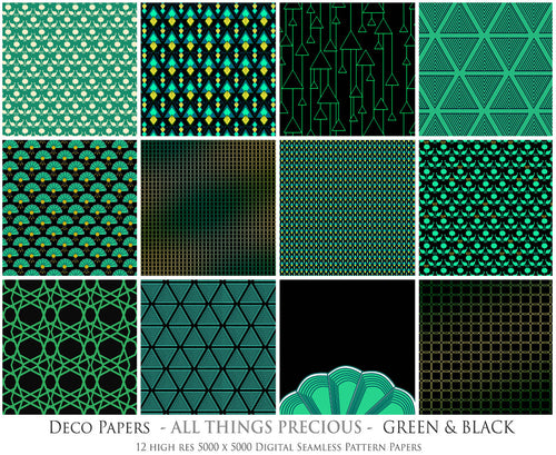 ART DECO - GREEN & BLACK Digital Papers Set 6