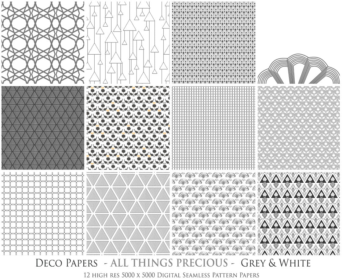 ART DECO - GREY & WHITE Digital Papers Set 8