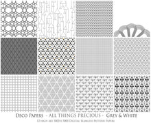 Load image into Gallery viewer, ART DECO - GREY & WHITE Digital Papers Set 8