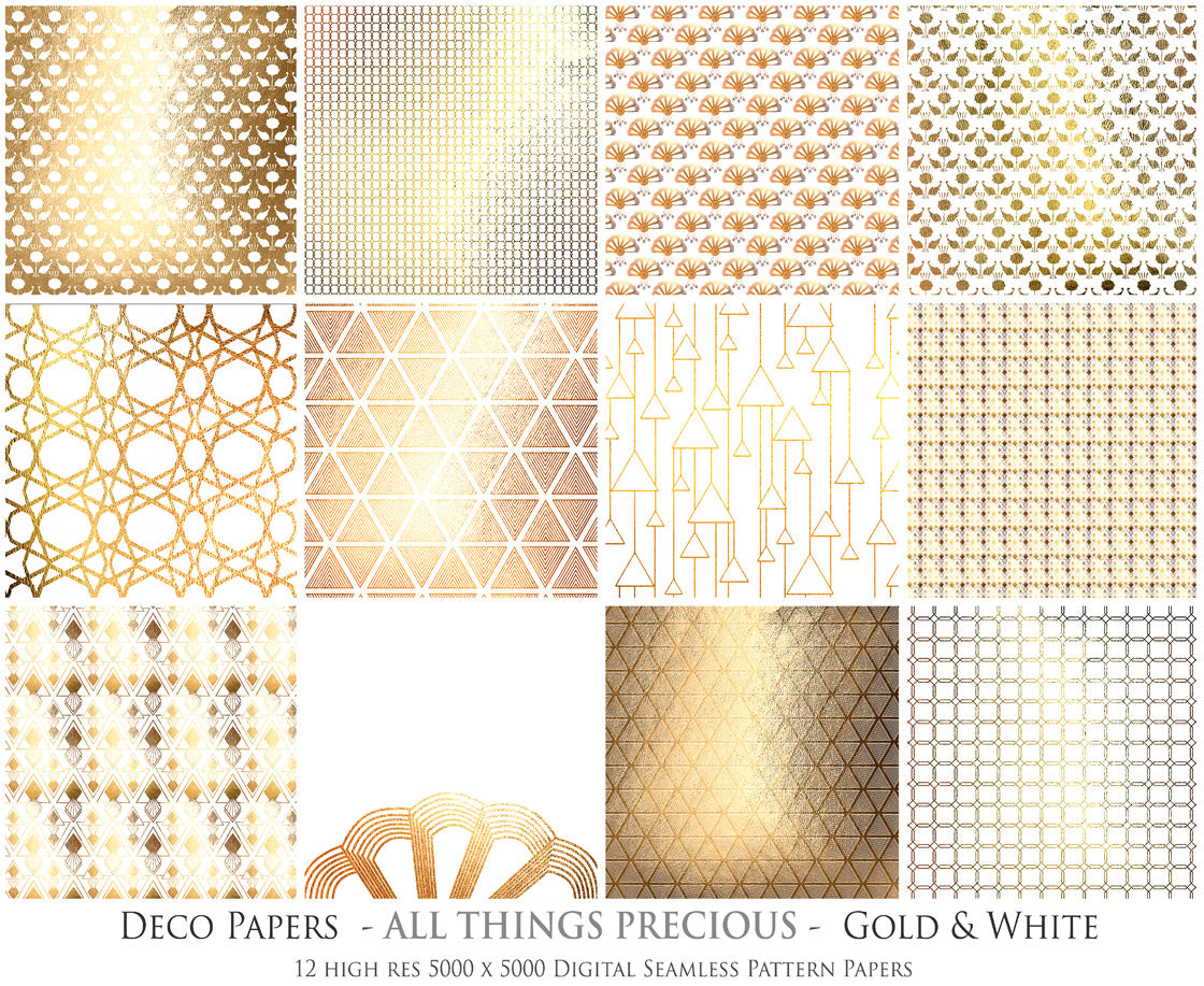 ART DECO - GOLD & WHITE Digital Papers Set 7