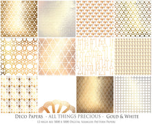 Load image into Gallery viewer, ART DECO - GOLD & WHITE Digital Papers Set 7