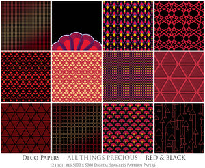 ART DECO - RED & BLACK Digital Papers Set 5