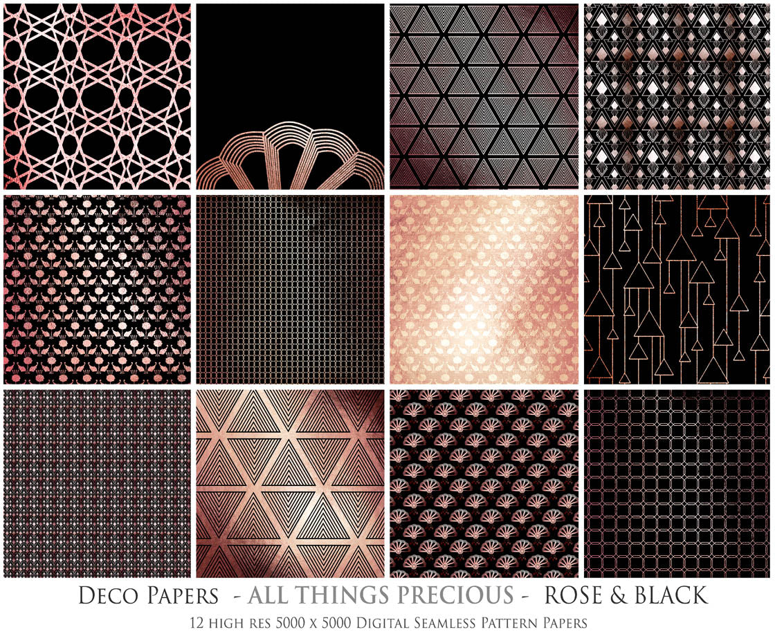 ART DECO - ROSE & GOLD Digital Papers Set 4