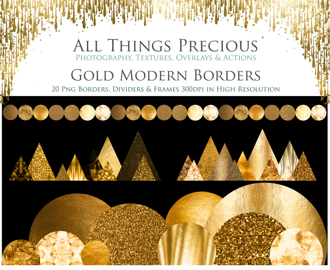 MODERN GOLD BORDERS - Clipart