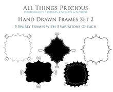 Load image into Gallery viewer, HAND DRAWN SWIRLY CLIPPING MASK FRAMES Set 2
