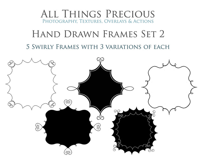 HAND DRAWN SWIRLY CLIPPING MASK FRAMES Set 2