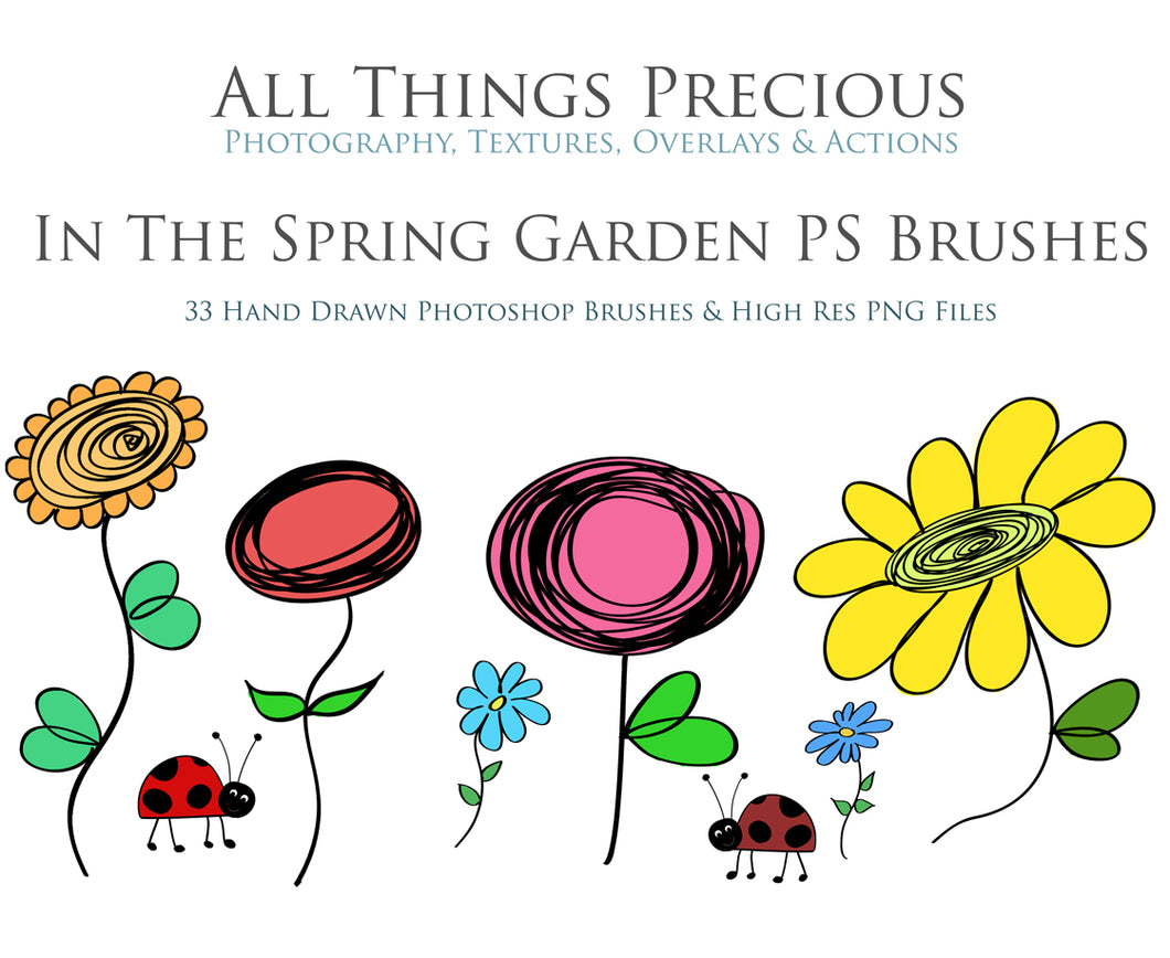 SPRING GARDEN PHOTOSHOP BRUSHES With Clipart
