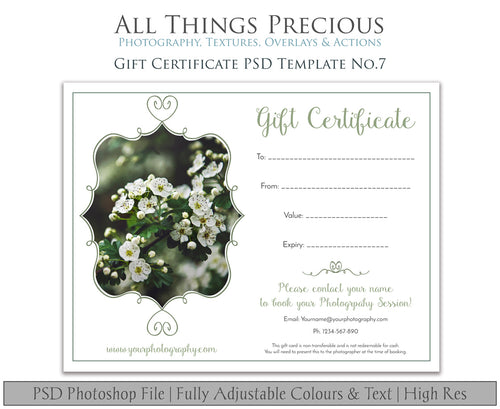 GIFT CERTIFICATE - PSD Template No. 7