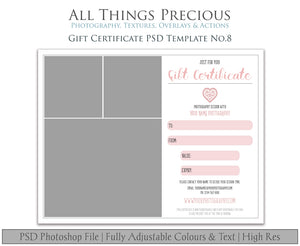 GIFT CERTIFICATE - PSD Template No. 8