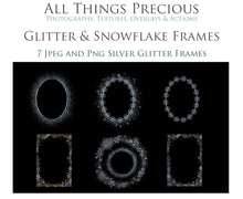 Load image into Gallery viewer, SILVER SNOWFLAKE & GLITTER FRAMES - Clipart