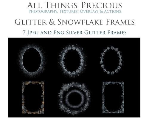 SILVER SNOWFLAKE & GLITTER FRAMES - Clipart