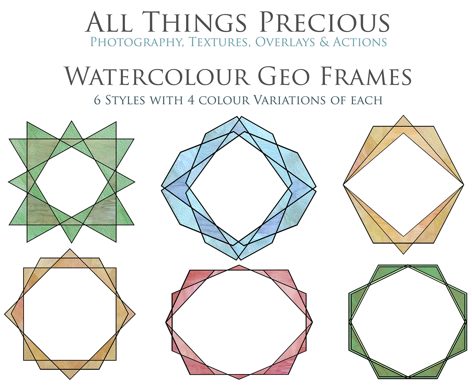 30 PNG WATERCOLOUR / BLACK Geo Frames - Clipart