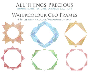 30 PNG WATERCOLOUR / WHITE Geo Frames - Clipart