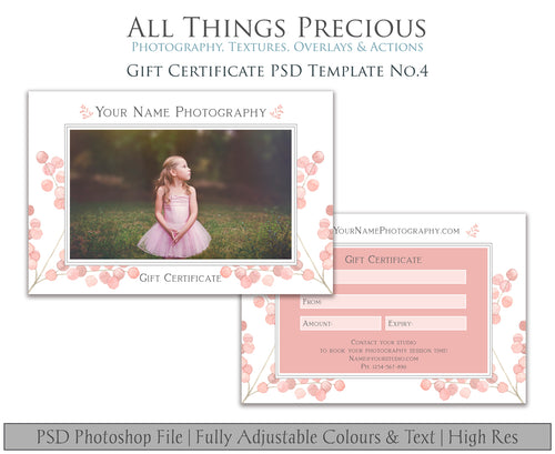 GIFT CERTIFICATE - PSD Template No. 4