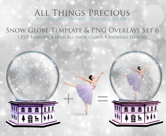 SNOW GLOBE Png Overlays and PSD Template No.6