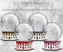 Load image into Gallery viewer, SNOW GLOBE Png Digital Overlays and PSD Template No.6