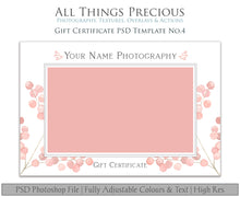 Load image into Gallery viewer, GIFT CERTIFICATE - PSD Template No. 4