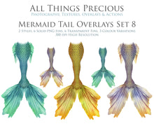Load image into Gallery viewer, MERMAID TAILS Set 8 - Digital Overlays
